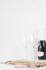 Champagne on a white background