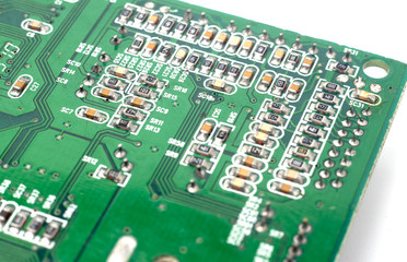 Closeup circuit board with electronic components