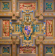 Pope Pius IX coat of arms in the Basilica of Santa Maria in Trastevere in Rome, Italy.