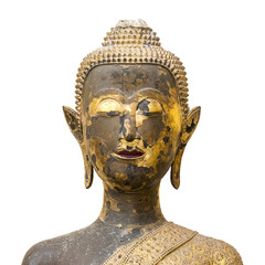 Ancient Buddha statue made of wood and covered with lacquer and gold leaves, Built in early Rattanakosin era.