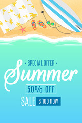 Flyer for the summer sale. Surfboard, beach goggles and sponges. Sunny sandy beach. Cartoon style. Special offer. Summer discounts. Vector illustration