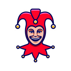 Joker head. Jester icon. Buffoon logo