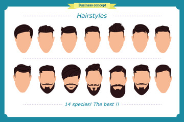 Hair styling vector illustration isolated on white background.Men's haircut and hairstyle.Front, side. Man faces. Gentleman haircuts and shaves. hair abstract model flat cartoon shapes design.
