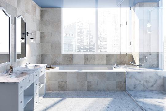 Beige tiles bathroom interior