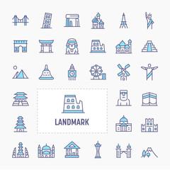 World's Landmark Minimal Icon Set