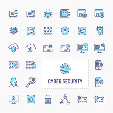 Cyber & Digital Security Icon Set