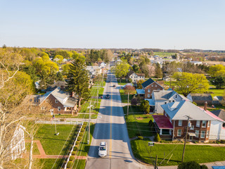 Aerial of the Small Town surrounded by farmland in Shrewsbury, Pennsylvania Wall mural