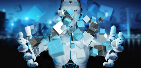White cyborg using blue digital cube structure 3D rendering