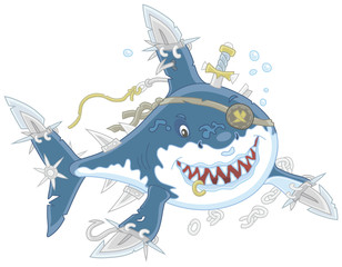 Perfidiously smiling Great White Shark Pirate with fins sabers attacking