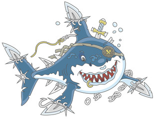 Perfidiously smiling Great White Shark Pirate with fins sabers attacking, vector illustrations in a cartoon style