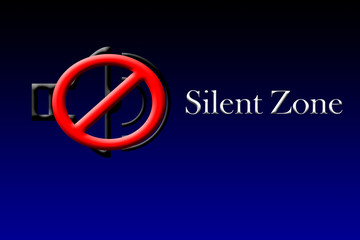 A DJ or speaker shape with a banning sign and written SILENT ZONE.