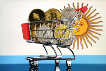 Shopping Trolley full of physical version of Cryptocurrencies (Bitcoin, Litecoin, Dash, Ethereum) and Argentina Flag.