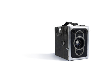 old retro camera zeiss ikon on white background