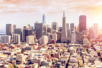 Aerial View of Sunset Over San Francisco Downtown Skyline
