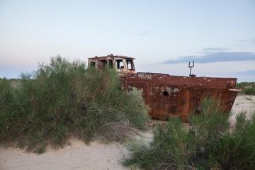 Rusty ship in Moynaq, Uzbekistan