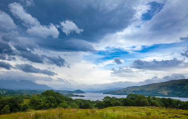 Dramatic sky over freshwater Loch Awe Argyll and Bute Scottish Highlands UK