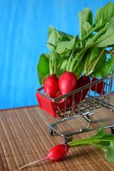 Fresh radish in a trolley on blue background