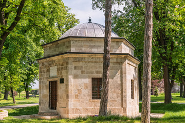 Belgrade, Serbia April 24, 2018: Damat Ali-Pasa's Turbeh. This is an Ottoman mausoleum erected in 1784 in Belgrade, Serbia. The building is situated in the Upper Town of the Belgrade Fortress.