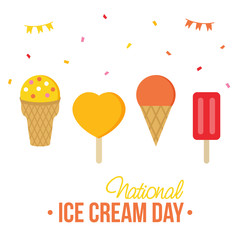 Cute colorful card, illustration for National Ice Cream Day with set, collection of different ice cream.