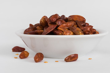 Red Chili Peppers in a white bowl