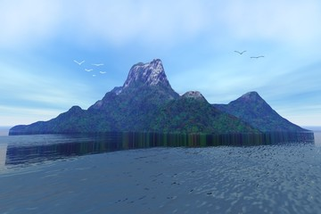 Island, a tropical landscape-, green trees and forests on the ground, rocky peak and birds in the sky, the sea is fantastic.