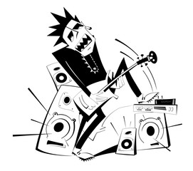 Cartoon guitar player black on white isolated illustration. Expressive guitarist plays loud music using amplifier and several speakers puts his foot one of them