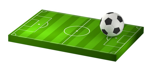 soccer ball and at soccer field 3D illustration isolated