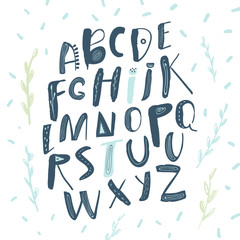 Abstract Childish Hand Drawn Alphabet. Scandinavian Style Font. Creative Kids ABC for Decoration, Invitation, Prints, Quotes and Posters. Vector illustration