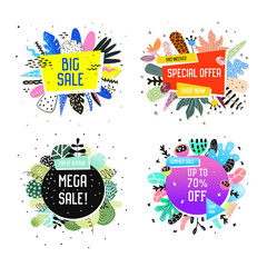 Sale Promotional Banner Set with Abstract Elements. Promo Floral Background. Summer Trendy Promotional Flyer, Poster. Tropical Label. Vector illustration