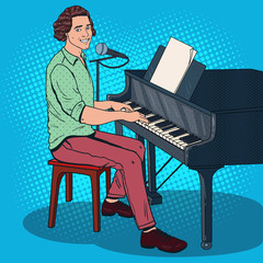 Pop Art Musician Playing Piano and Singing into the Microphone. Male Singer. Vector illustration