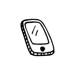 Handdrawn doodle phone icon. Hand drawn black sketch. Sign symbol. Decoration element. White background. Isolated. Flat design. Vector illustration