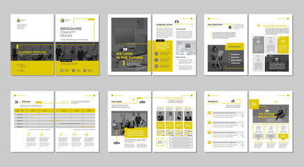 Brochure creative design. Multipurpose template with cover, back and inside pages. Trendy minimalist flat geometric design. Vertical a4 format. Wall mural