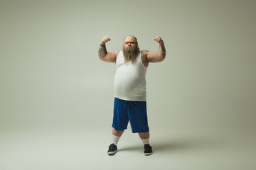 Man showing his muscles