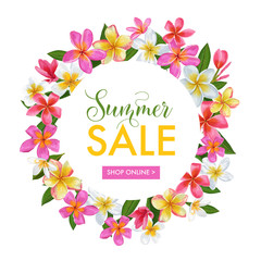 Summer Sale Floral Banner. Seasonal Discount Advertising with Pink Plumeria Flowers. Tropical Paradise Spring Promotional Design for Poster, Flyer. Vector illustration