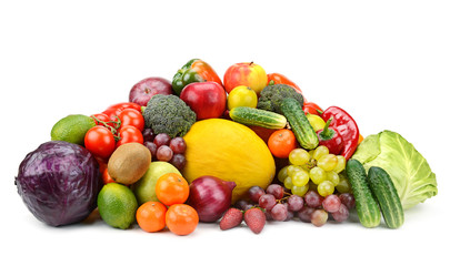 Wall Mural - Collection of fruits and vegetables isolated on white background for your project.