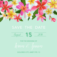 Wedding Invitation Template with Pink Plumeria Flowers. Tropical Floral Save the Date Card. Exotic Flower Romantic Design for Greeting Postcard, Birthday, Anniversary. Vector illustration