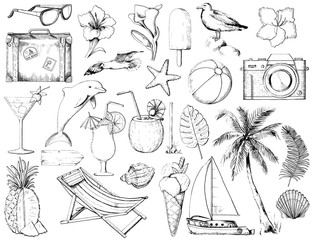 Set with camera, seagulls, yacht, sunglasses, cocktails, two types of ice cream, pineapple, lounger, dolphin, signpost, seashells, starfish, flowers, ball, palm, twigs  and suitcase on white backgroun