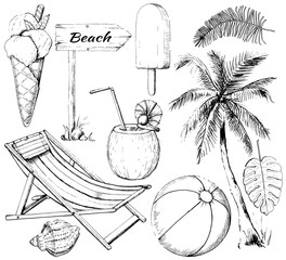 Graphic outline set with ten summer beach objects