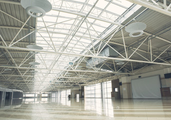 Huge bright empty warehouse is commercial building for renting premarketing