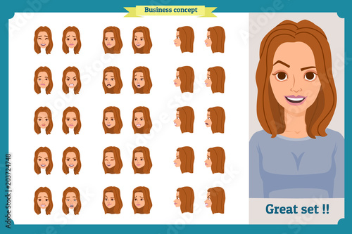 Set Of Woman S Emotions Design Facial Expression Girl Avatar Front