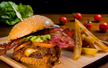 hamburger, home made burger with tomato and cheese,  burger with beef
