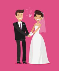 Wedding concept. Happy bride and groom holding hands. Cartoon vector illustration
