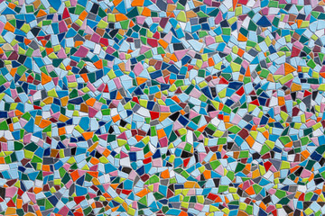 Colorful pastel vivid colour and various geometric shape and size of mosaic tile with random pattern. Wall mural