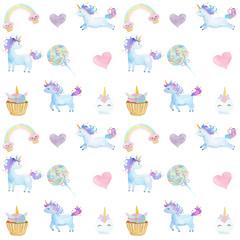 Watercolor Unicorns pattern