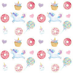 Watercolor Unicorns and sweets pattern