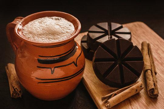 chocolate mexicano, mug of mexican chocolate from oaxaca mexico