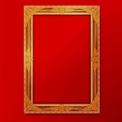 Wall Mural - frame photo and thai art border on red