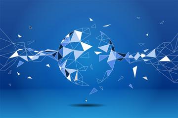 Polygon particle build to sphere: Concept of Futuristic, Big Data, Data transform