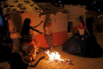 Girls dance at a Roma neighborhood to celebrate the spring festival of Hidrellez in Edirne