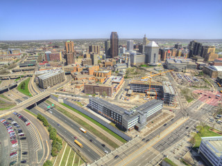 St. Paul is the State Capitol of Minnesota seen from above by Drone